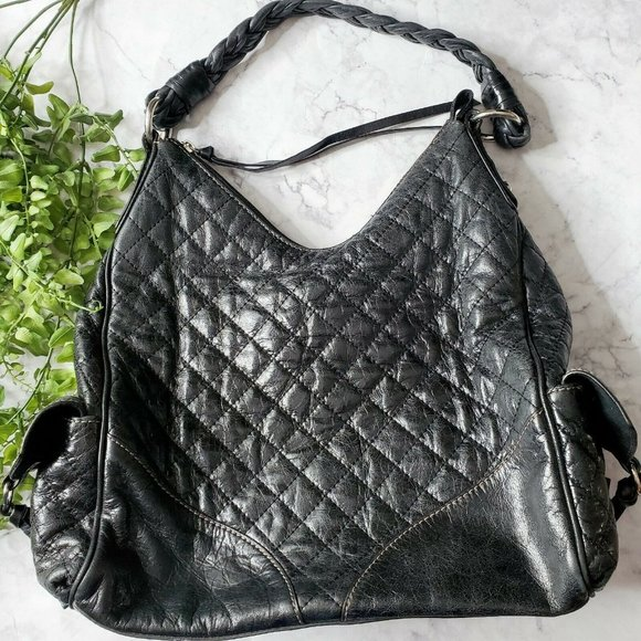 Francesco Biasia Black Quilted Leather Hobo Bag